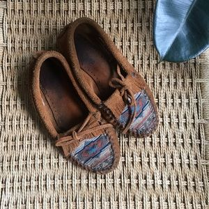 Minnetonka Suede and Southwest Textile Moccasins